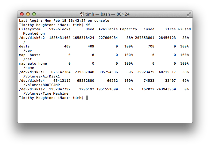 Results of 'df' command in Terminal.app